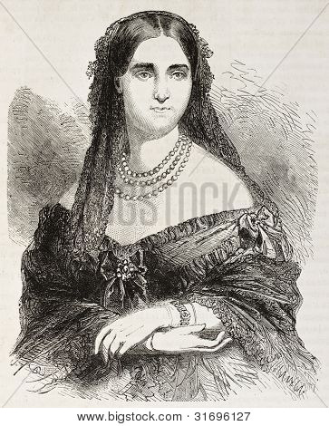 Laure Cinti-Damoreau old engraved portrait (French soprano). Created by Janet-Lange, published on L'Illustration, Journal Universel, Paris, 1863