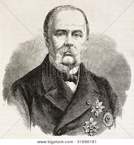 Adrian Woll old engraved portrait (French soldier of fortune). Created by Chenu, published on L'Illustration, Journal Universel, Paris, 1863