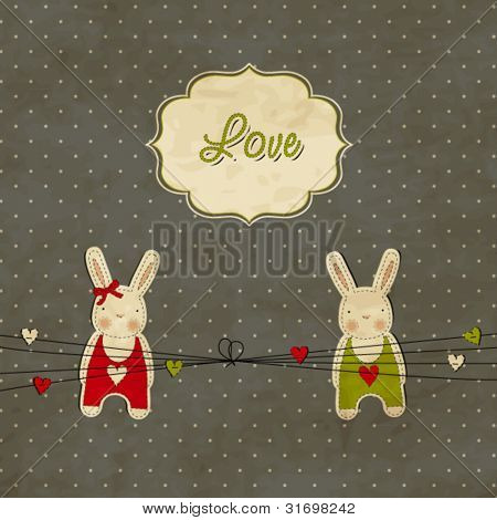 Vintage scrap template with bunnies, love card