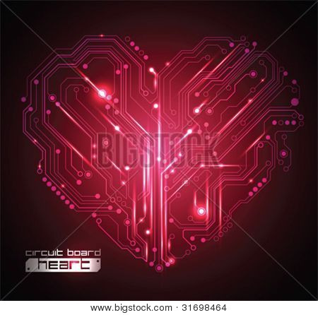 circuit board heart background - creative idea vector