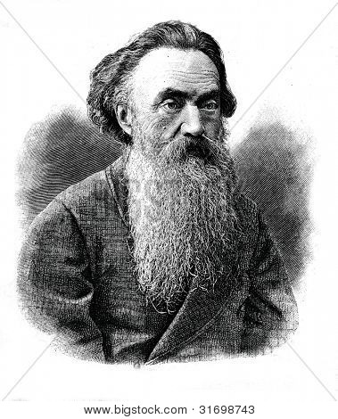 "Nikolay Strakhov - Russian philosopher, essayist, literary critic. Engraving by  Shyubler. Published in magazine ""Niva"", publishing house A.F. Marx, St. Petersburg, Russia, 1888"