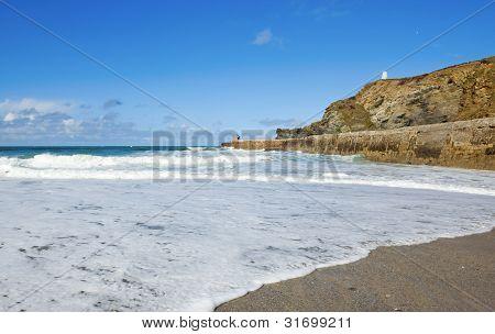Portreath beach waves breaking, Cornwall UK.