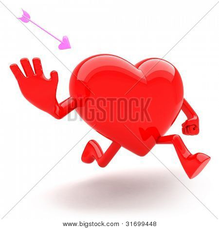 Heart shaped mascot runaway and avoid arrow