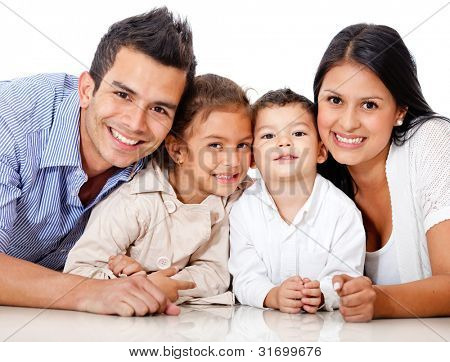 Beautiful family portrait lying on the floor - isolated over a white background