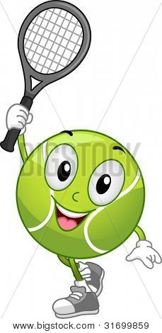 Illustration of a Tennis Ball Mascot Holding a Racket