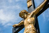 stock photo of inri  - Closeup of a statue of Jesus on a crucifix with the INRI parchment - JPG