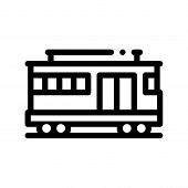 Public Transport Cable Car Thin Line Icon. Cable Car Railway Machine, Urban Passenger Transport Line poster