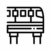 Public Transport Monorail Vector Thin Line Icon. Elevated Monorail Road Train Urban Passenger Transp poster