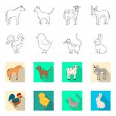 Isolated Object Of Breeding And Kitchen Logo. Set Of Breeding And Organic Vector Icon For Stock. poster