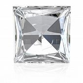 stock photo of opulence  - Princess cut diamond isolated on white background - JPG