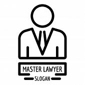 Master Lawyer Icon. Outline Master Lawyer Vector Icon For Web Design Isolated On White Background poster