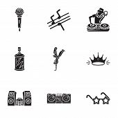 Rap Swang Icon Set. Simple Set Of 9 Rap Swang Vector Icons For Web Design Isolated On White Backgrou poster