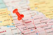 Red Clerical Needle On A Map Of Usa, Iowa And The Capital Des Moines. Close Up Map Of Iowa With Red poster