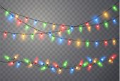 Christmas Lights Isolated On Transparent Background. Colorful Bright Xmas Garland. Vector Red, Yello poster