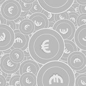 European Union Euro Silver Coins Seamless Pattern. Outstanding Scattered Black And White Eur Coins.  poster