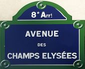 picture of charles de gaulle  - paris street signs and indication in the city intra muros Place Charles de Gaulle with the beginning of the avenue des champs elysees - JPG