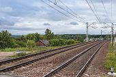 Railway In Tula Region, Russia. Landscape With Railway Track, Sky With Clouds, Trees And Grass. Rail poster