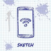 Sketch Line Smartphone With Free Wi-fi Wireless Connection Icon Isolated On White Background. Wirele poster