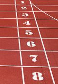 Numbers From One To Eight Of The Athletics Track Lane Before The Speed Race Arrives poster