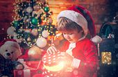 Santa Boy Little Child Celebrate Christmas At Home. Lovely Baby Enjoy Christmas. Family Holiday. Boy poster