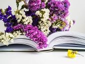 An Open Book On Which Lies A Bouquet Of Dried Flowers. Bouquet Presented To A Loved One. Purple Bouq poster