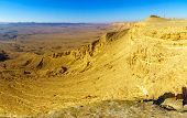 Panoramic Landscape Of Makhtesh (crater) Ramon, In The Negev Desert, Southern Israel. It Is A Geolog poster