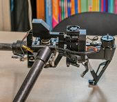 Frame, Landing Gear Motor And Wiring Of Disassemble Unmanned Aerial Vehicle Made Of Carbon Fiber. poster