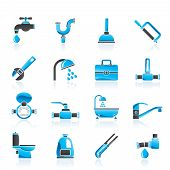 stock photo of plumbing  - plumbing objects and tools icons  - JPG