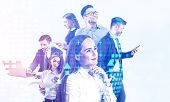 Portrait Of Diverse Business People Working With Gadgets With Double Exposure Of World Map Hologram. poster