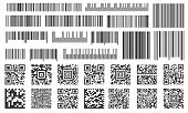 Digital Barcode. Supermarket Bar Labels, Shop Inventory Code And Technology Codes Bars. Barcodes Sca poster