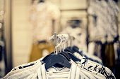 Shirts On Hangers. Shopping In Store. Clothes On Hangers In Shop For Sale. Blur Background. Fashiona poster