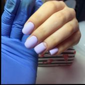 Blue Female Manicure On Nails Close Up poster
