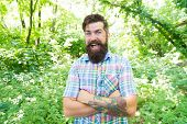 Im Happy Its My Vacation. Cheerful Caucasian Guy Going On Vacation On Natural Landscape. Bearded Man poster