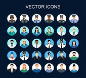 Profession Icon Set. Avatars Profession People: Cop, Pilot, Stewardess, Doctor,  Nurse, Office Worke poster