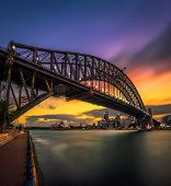 Sunset Skyline Of Sydney Downtown With City Lights And Harbour Bridge In Australia. Long Exposure. poster