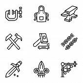 Steel Blacksmith Object Icon Set. Outline Set Of 9 Steel Blacksmith Object Vector Icons For Web Desi poster