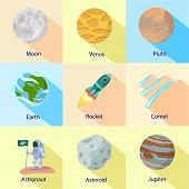 Cosmic Expedition Icon Set. Flat Set Of 9 Cosmic Expedition Vector Icons For Web Design Isolated On  poster