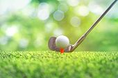 Collection Of Golf Equipment Resting On Green Grass. Blurred Golf Club And Golf Ball Close Up In Gra poster