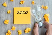 2020  Words On Yellow Note And Crumbled Paper With Businessman Holding Lightbulb On Wooden Table Bac poster