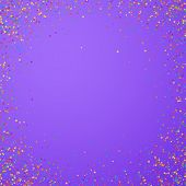 Festive Confetti. Celebration Stars. Childish Bright Stars On Bright Purple Background. Cool Festive poster