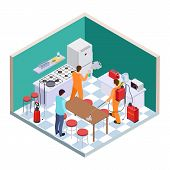 Kitchen Disinfection. Isometric Pest Control. Vector Disinfection Service Team. Illustration Of Nsec poster