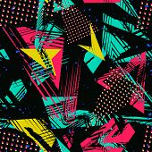 Abstract Neon Seamless Pattern. Urban Street Art. Grunge Texture With Chaotic Lines, Triangles, Brus poster