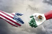 Usa And Mexico Flag Print Screen On Handshake With Cloudscape.it Is Symbol Of Economic Tariffs Trade poster