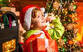 Wish To Meet Santa Claus. Merry Christmas And Happy New Year. Happy Childhood. Adorable Child Play A poster