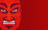 Vector Vintage Illustration Of A Angry Man Face On Red Halftone Background. Retro Illustration Of A  poster