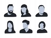 Vector Avatar, Profile Icon, Head Silhouette. Group Of Working People Diversity, Diverse Business Me poster