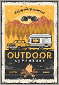 Outdoor Adventure, Car Camping And Road Trip Retro Poster With Vector Pickup, Rv Or Travel Trailer,  poster