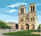 Colorful Vector Illustration Of Notre Dame Cathedral (paris, France). Landmark Of Paris. Cityscape W poster