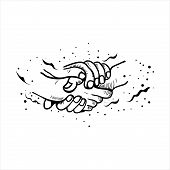 Shake Hands Flat Vector Symbols, Signs, Outline Illustrations. Shaking Hands Flat Vector Illustratio poster