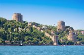 pic of fortified wall  - Rumeli Fortress in Spring in Istanbul Turkey - JPG